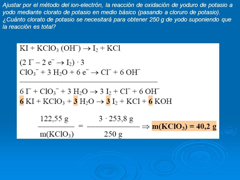 Ajustar por el método del ion-electrón, la reacción de oxidación de yoduro de potasio a yodo mediante clorato de potasio en medio básico (pasando a cl