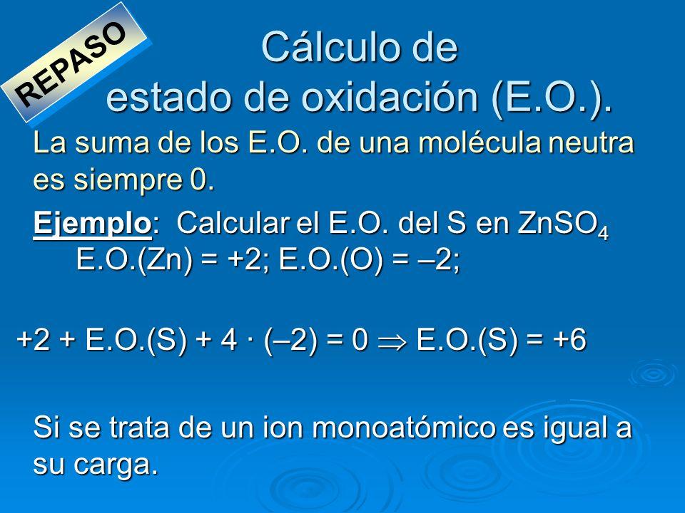 Cálculo de estado de oxidación (E.O.). La suma de los E.O. de una molécula neutra es siempre 0. Ejemplo: Calcular el E.O. del S en ZnSO 4 E.O.(Zn) = +