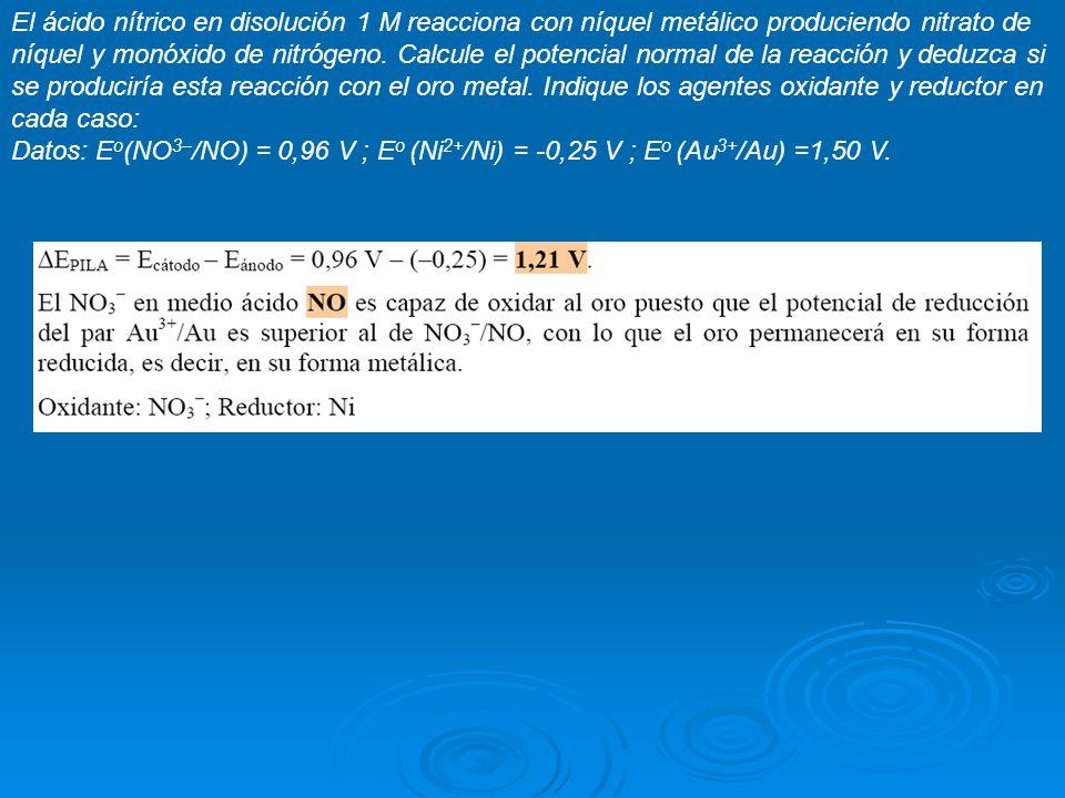 El ácido nítrico en disolución 1 M reacciona con níquel metálico produciendo nitrato de níquel y monóxido de nitrógeno. Calcule el potencial normal de