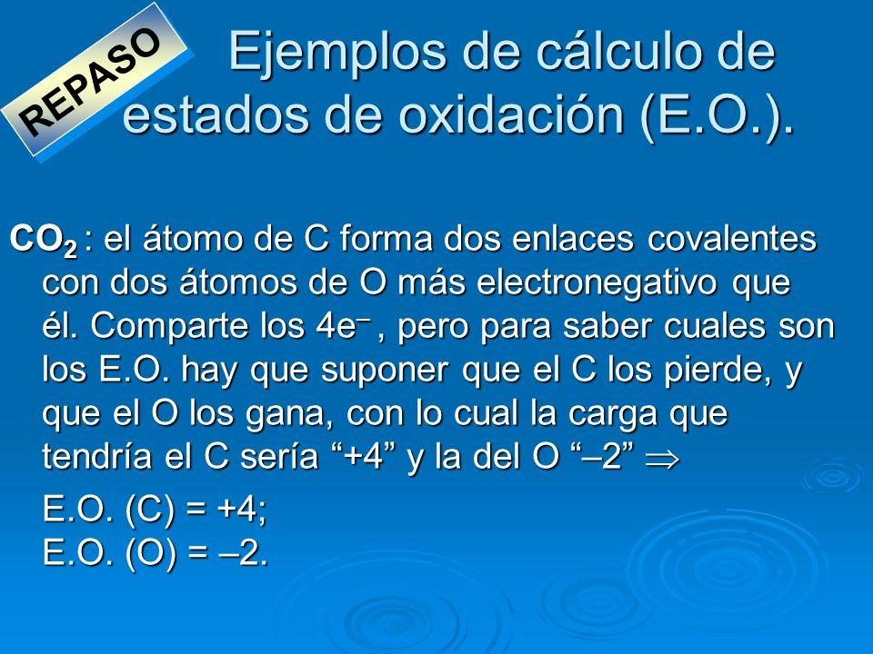 Ejemplos de cálculo de estados de oxidación (E.O.). CO 2 : el átomo de C forma dos enlaces covalentes con dos átomos de O más electronegativo que él.