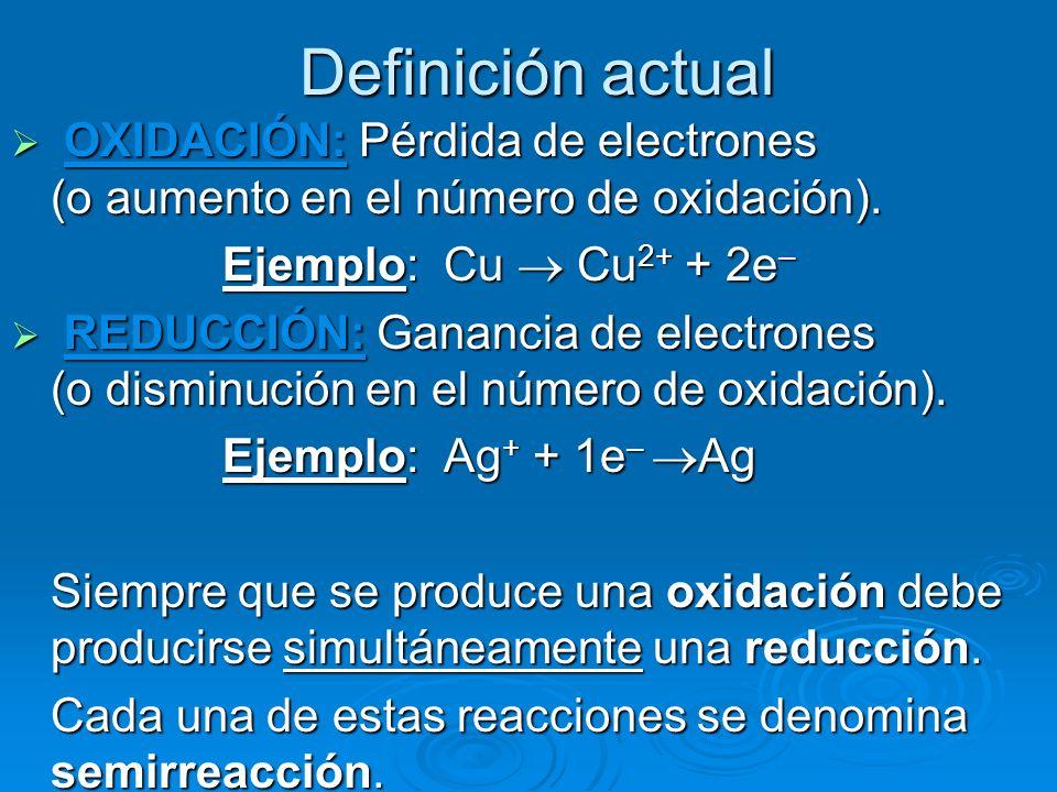 Definición actual OXIDACIÓN: Pérdida de electrones (o aumento en el número de oxidación). OXIDACIÓN: Pérdida de electrones (o aumento en el número de