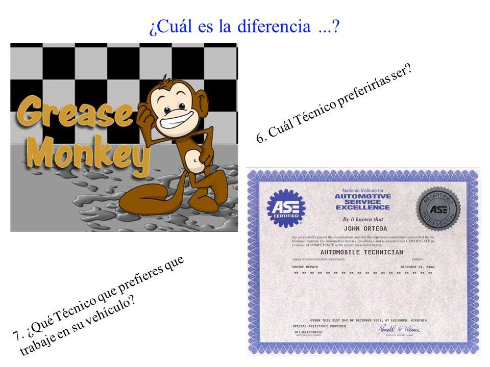¿Cuál es la diferencia...? 6. Cuál Técnico preferirías ser? 7. ¿Qué Técnico que prefieres que trabaje en su vehículo?