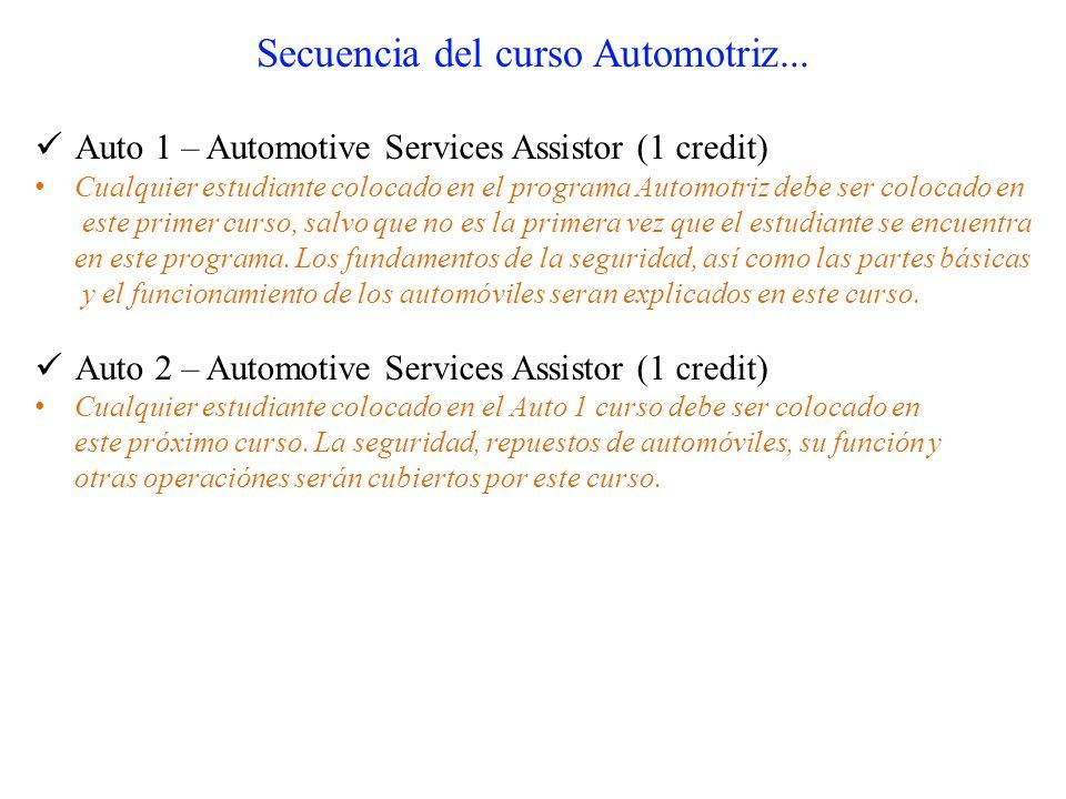 Secuencia del curso Automotriz... Auto 1 – Automotive Services Assistor (1 credit) Cualquier estudiante colocado en el programa Automotriz debe ser co