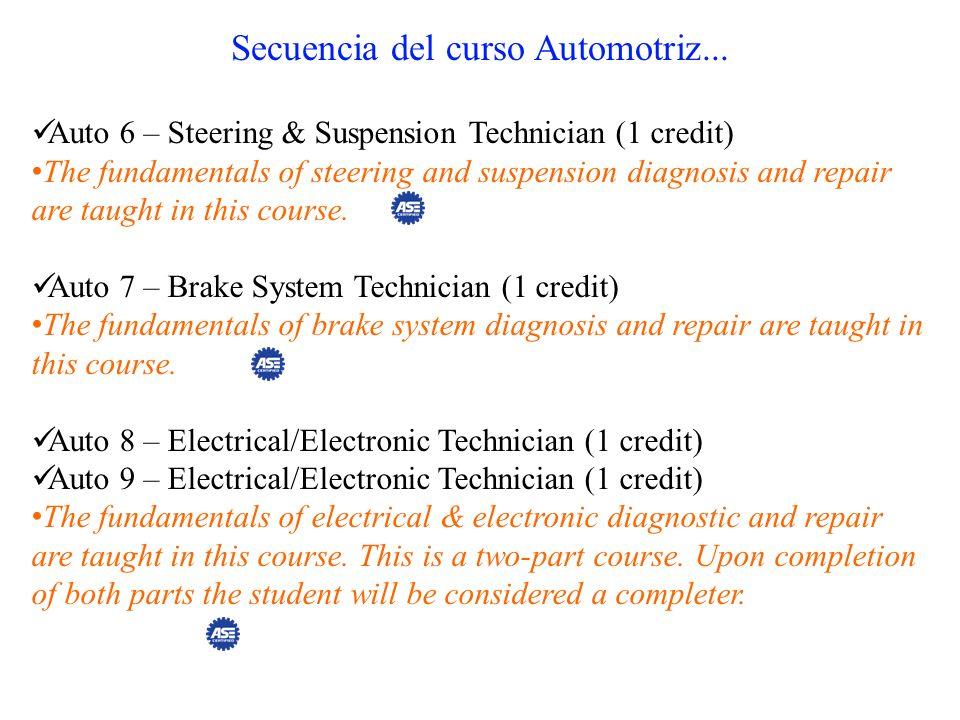 Secuencia del curso Automotriz... Auto 6 – Steering & Suspension Technician (1 credit) The fundamentals of steering and suspension diagnosis and repai