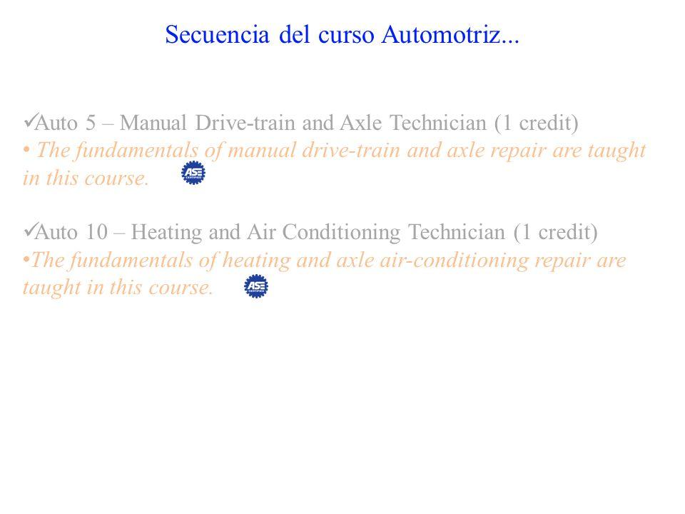 Secuencia del curso Automotriz... Auto 5 – Manual Drive-train and Axle Technician (1 credit) The fundamentals of manual drive-train and axle repair ar
