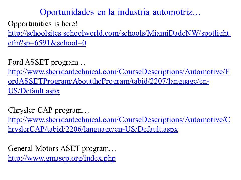 Oportunidades en la industria automotriz… Opportunities is here! http://schoolsites.schoolworld.com/schools/MiamiDadeNW/spotlight. cfm?sp=6591&school=