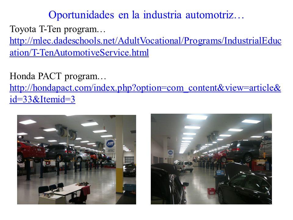 Oportunidades en la industria automotriz… Toyota T-Ten program… http://mlec.dadeschools.net/AdultVocational/Programs/IndustrialEduc ation/T-TenAutomot