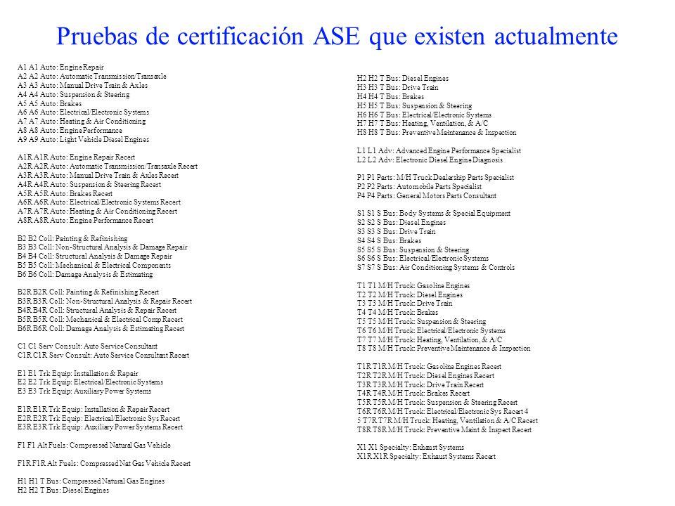 Pruebas de certificación ASE que existen actualmente A1 A1 Auto: Engine Repair A2 A2 Auto: Automatic Transmission/Transaxle A3 A3 Auto: Manual Drive T