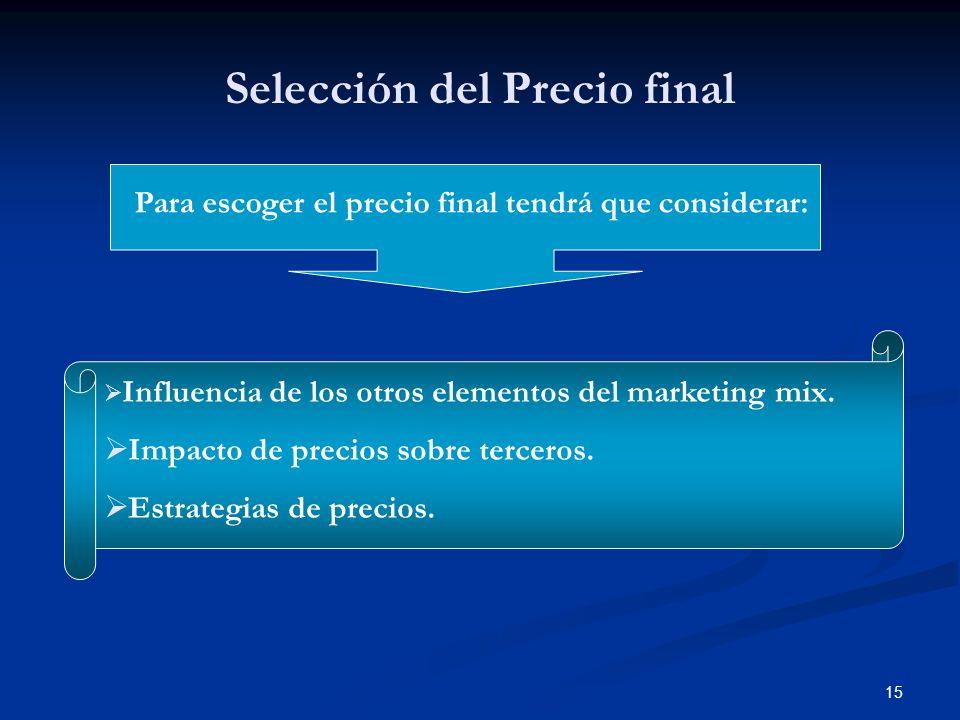 15 Selección del Precio final Para escoger el precio final tendrá que considerar: Influencia de los otros elementos del marketing mix. Impacto de prec
