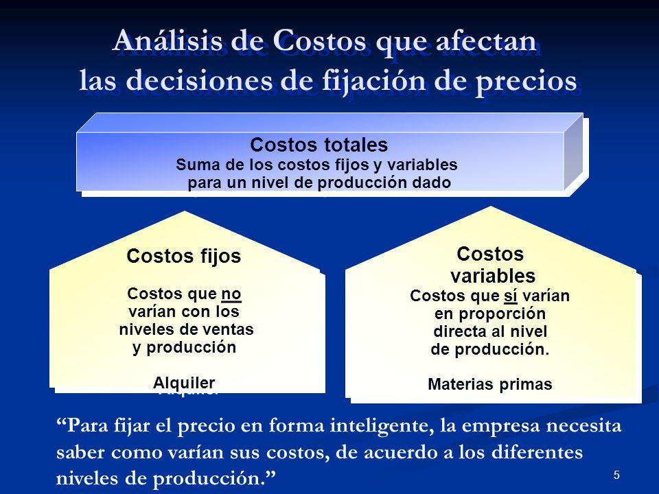 5 Costos v ariable s Cost o s que sí varían en proporción directa al nivel de producción. Materias primas Costos v ariable s Cost o s que sí varían en