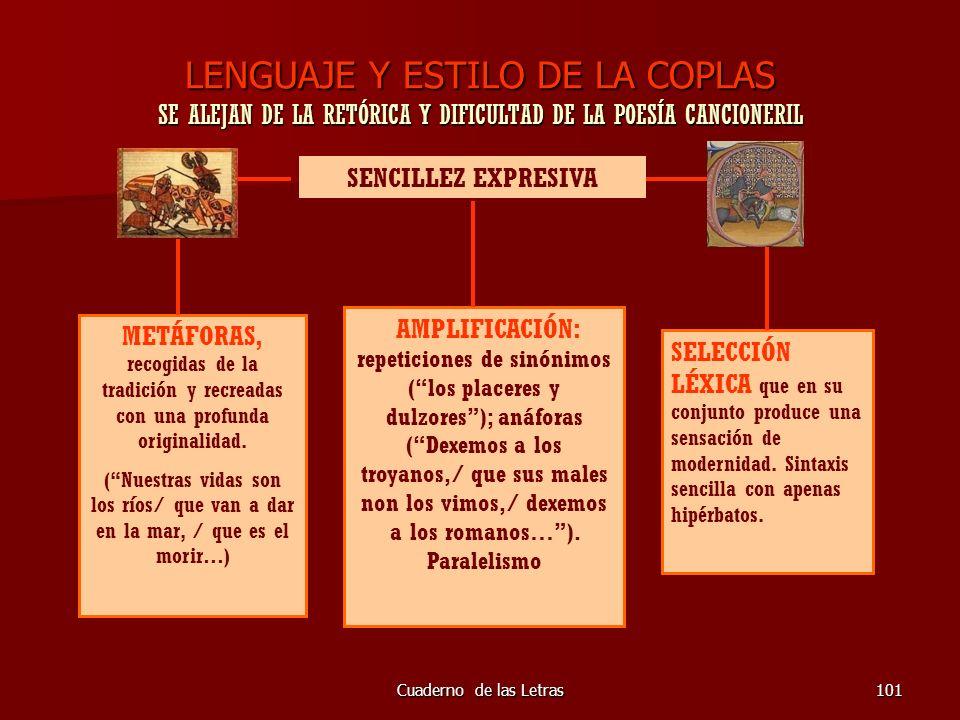 Cuaderno de las Letras101 LENGUAJE Y ESTILO DE LA COPLAS SE ALEJAN DE LA RETÓRICA Y DIFICULTAD DE LA POESÍA CANCIONERIL SENCILLEZ EXPRESIVA METÁFORAS,