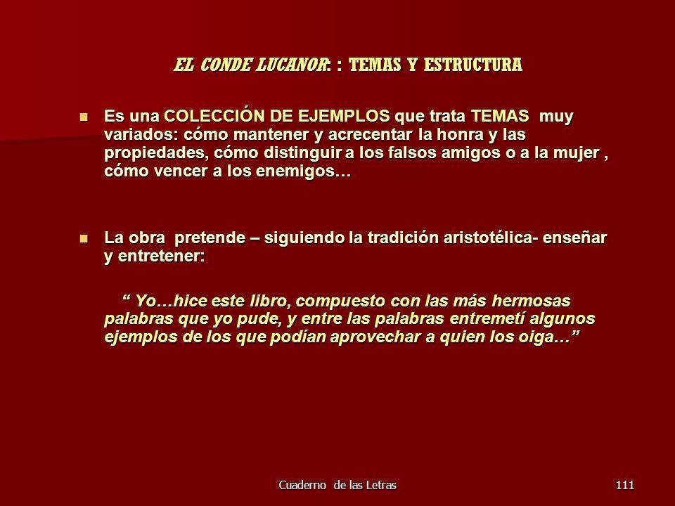 Cuaderno de las Letras111 EL CONDE LUCANOR: : TEMAS Y ESTRUCTURA EL CONDE LUCANOR: : TEMAS Y ESTRUCTURA Es una COLECCIÓN DE EJEMPLOS que trata TEMAS m