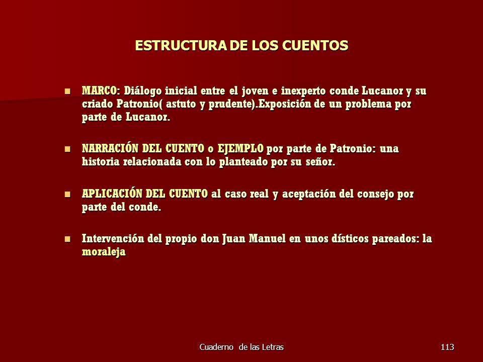 Cuaderno de las Letras113 ESTRUCTURA DE LOS CUENTOS MARCO: Diálogo inicial entre el joven e inexperto conde Lucanor y su criado Patronio( astuto y pru