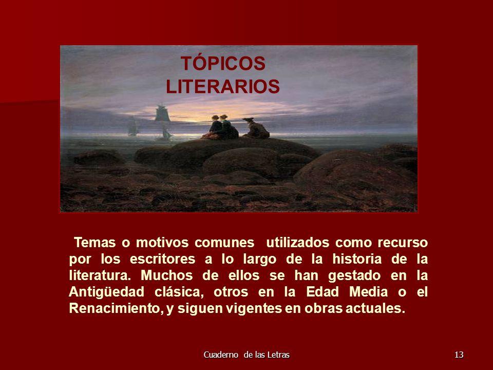 Cuaderno de las Letras13 TÓPICOS LITERARIOS Temas o motivos comunes utilizados como recurso por los escritores a lo largo de la historia de la literat