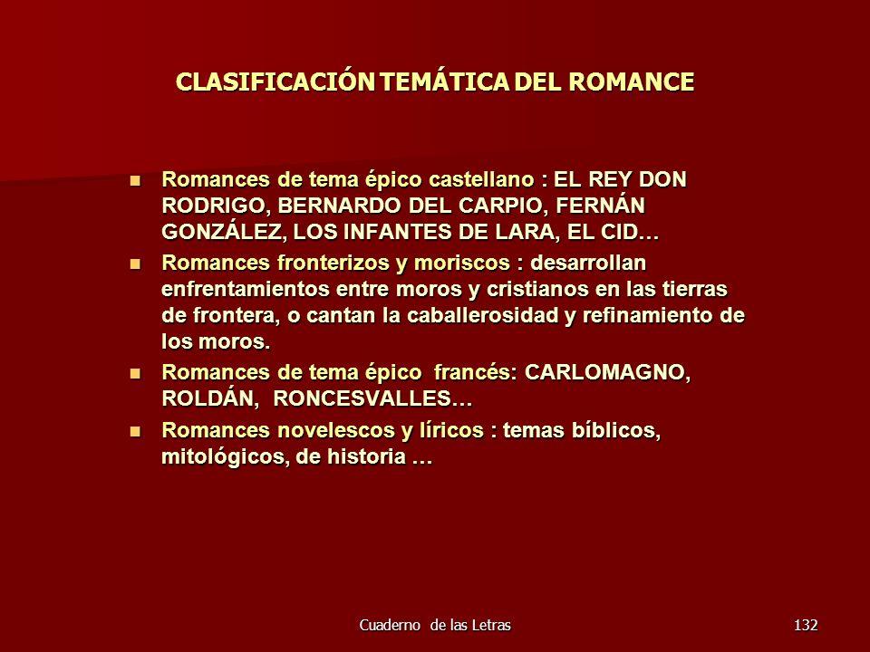 Cuaderno de las Letras132 CLASIFICACIÓN TEMÁTICA DEL ROMANCE Romances de tema épico castellano : EL REY DON RODRIGO, BERNARDO DEL CARPIO, FERNÁN GONZÁ