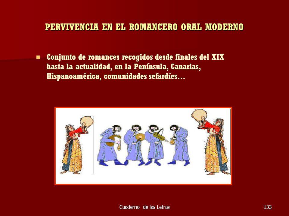 Cuaderno de las Letras133 PERVIVENCIA EN EL ROMANCERO ORAL MODERNO Conjunto de romances recogidos desde finales del XIX hasta la actualidad, en la Pen