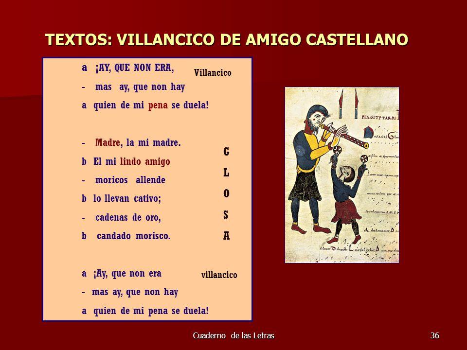 Cuaderno de las Letras36 TEXTOS: VILLANCICO DE AMIGO CASTELLANO a ¡ AY, QUE NON ERA, - mas ay, que non hay a quien de mi pena se duela! - Madre, la mi