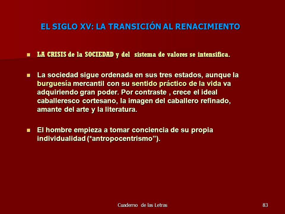Cuaderno de las Letras83 EL SIGLO XV: LA TRANSICIÓN AL RENACIMIENTO LA CRISIS de la SOCIEDAD y del sistema de valores se intensifica. LA CRISIS de la