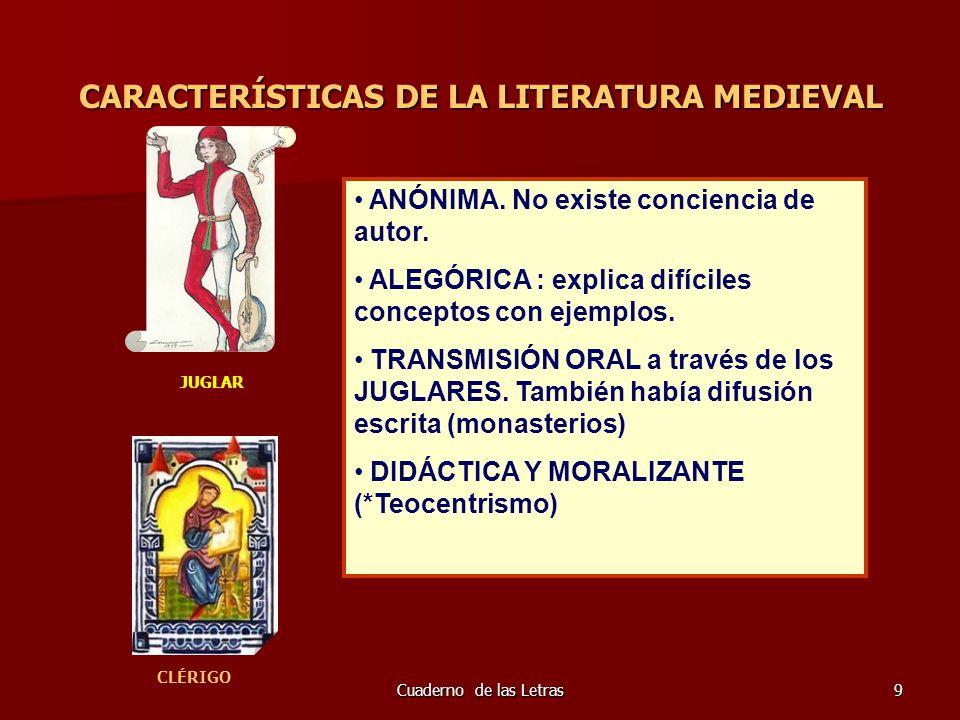Cuaderno de las Letras10 TEMAS DE LA LITERATURA MEDIEVAL TEMAS RELIGIOSOS, procedentes de la Biblia, Vidas de santos y de la devoción a la Virgen.