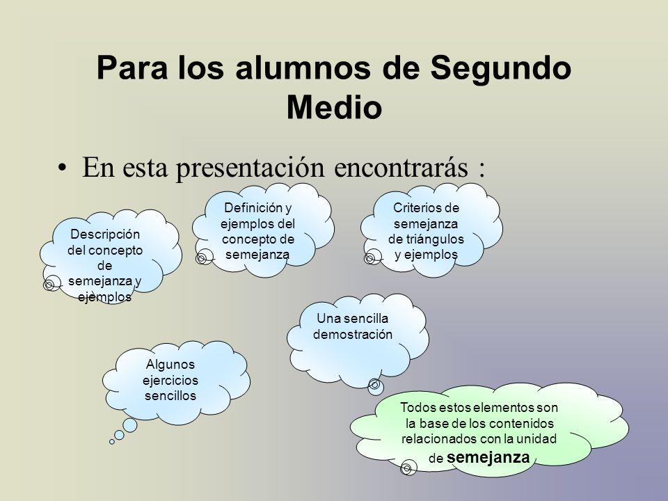 Para los alumnos de Segundo Medio En esta presentación encontrarás : Descripción del concepto de semejanza y ejemplos Definición y ejemplos del concep