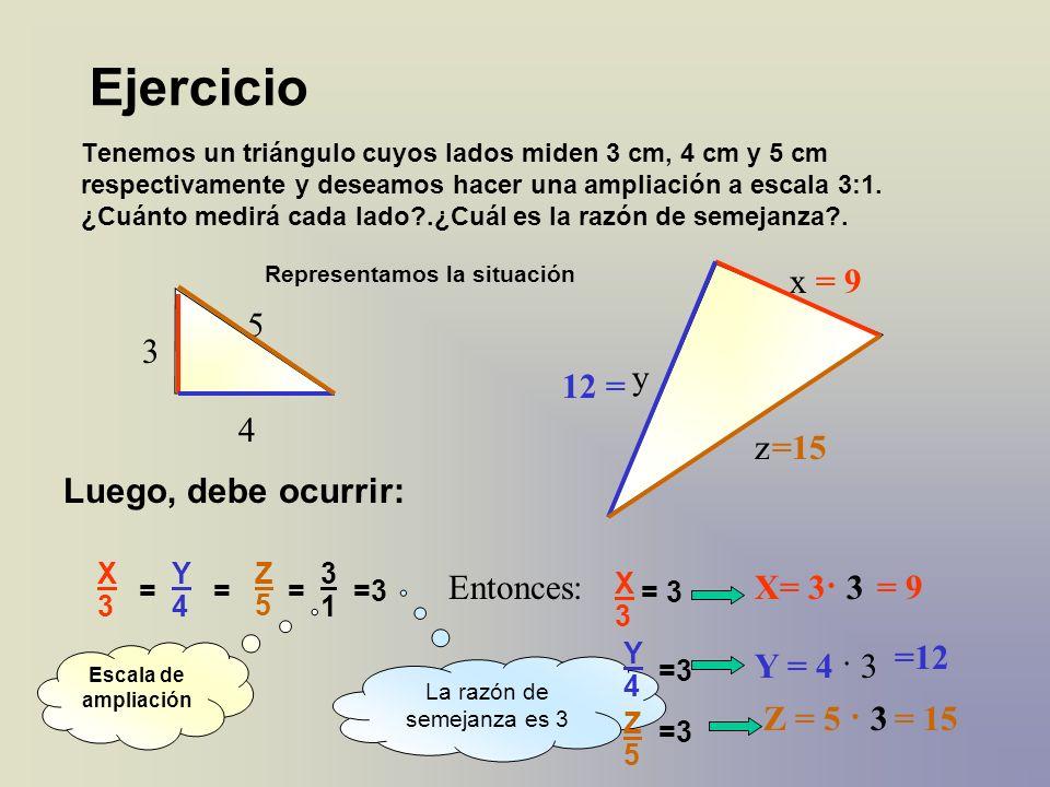 Tenemos un triángulo cuyos lados miden 3 cm, 4 cm y 5 cm respectivamente y deseamos hacer una ampliación a escala 3:1. ¿Cuánto medirá cada lado?.¿Cuál