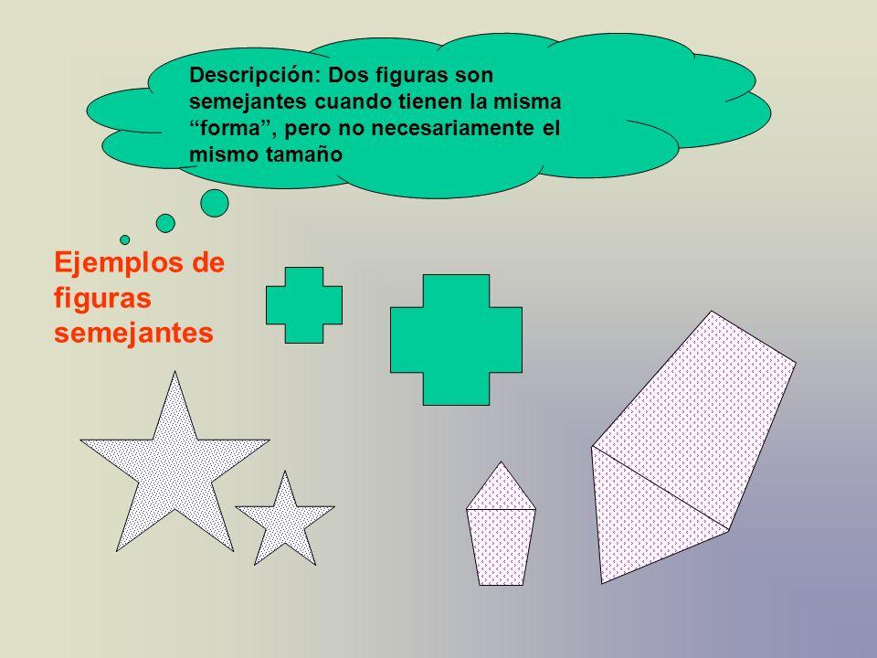 Descripción: Dos figuras son semejantes cuando tienen la misma forma, pero no necesariamente el mismo tamaño Ejemplos de figuras semejantes