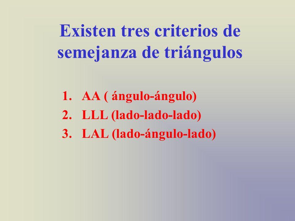 Existen tres criterios de semejanza de triángulos 1.AA ( ángulo-ángulo) 2.LLL (lado-lado-lado) 3.LAL (lado-ángulo-lado)