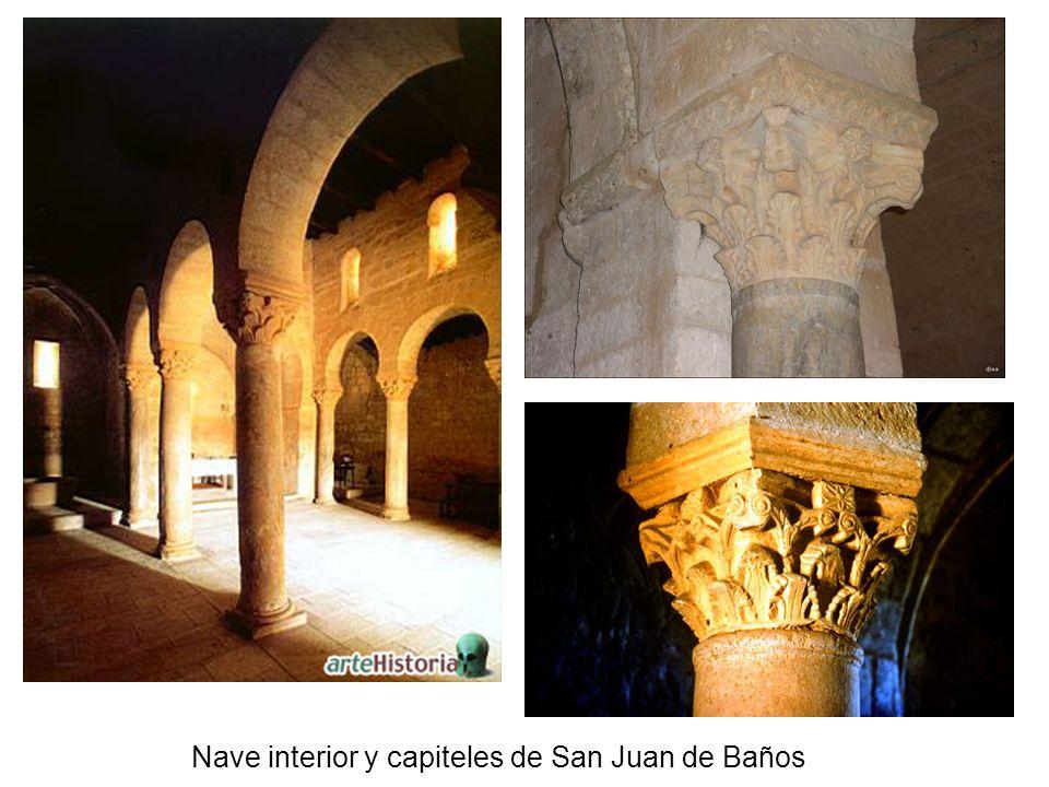 Nave interior y capiteles de San Juan de Baños
