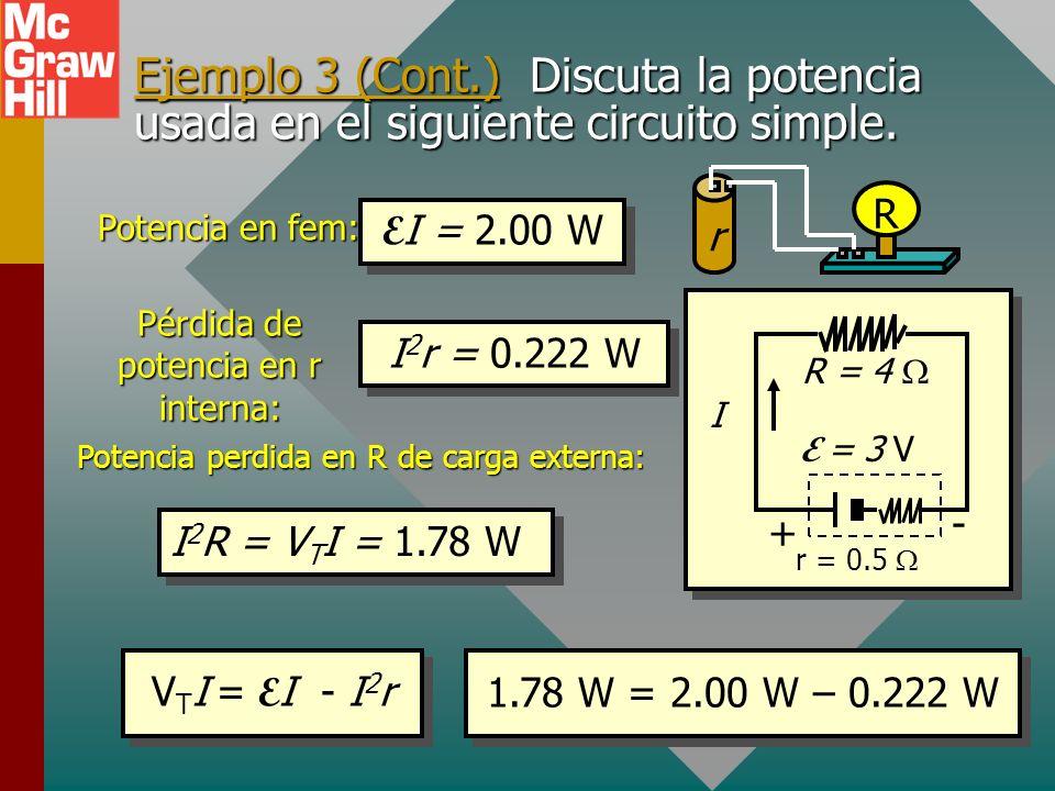Ejemplo 3 (Cont.) Discuta la potencia usada en el siguiente circuito simple. r = 0.5 R = 4 I + - E = 3 V r R Potencia en fem: E I = 2.00 W Pérdida de