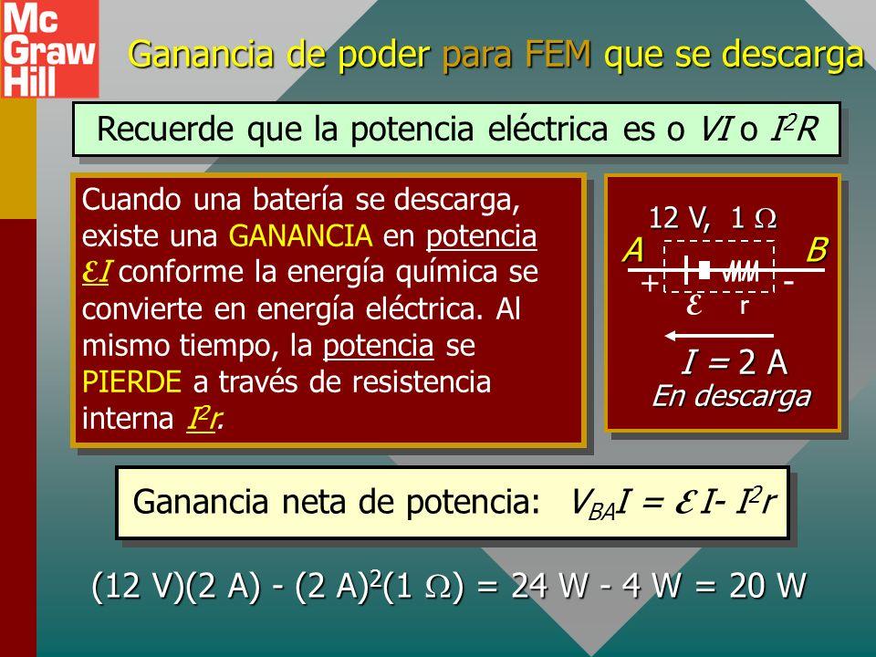 En carga: Inversión del flujo a través de FEM Cuando una batería se carga (corriente contra salida normal), la energía se pierde a través de cambios q
