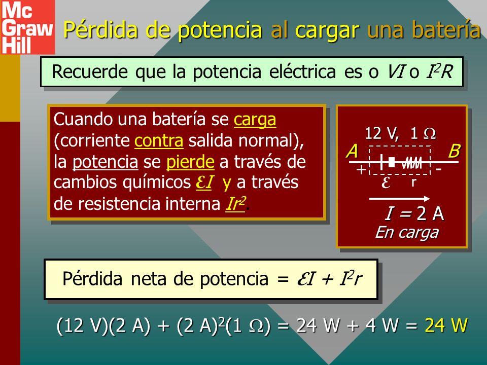 Ganancia de poder para FEM que se descarga Cuando una batería se descarga, existe una GANANCIA en potencia E I conforme la energía química se conviert
