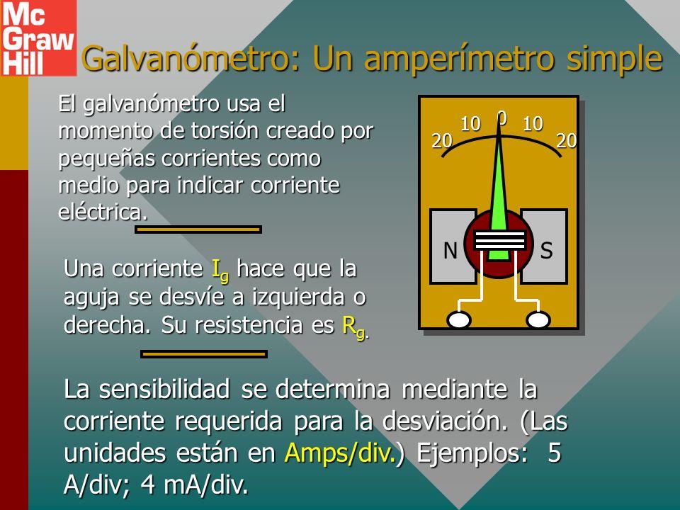 El amperímetro Un amperímetro es un instrumento que se usa para medir corrientes. Siempre se conecta en serie y su resistencia debe ser pequeña (cambi