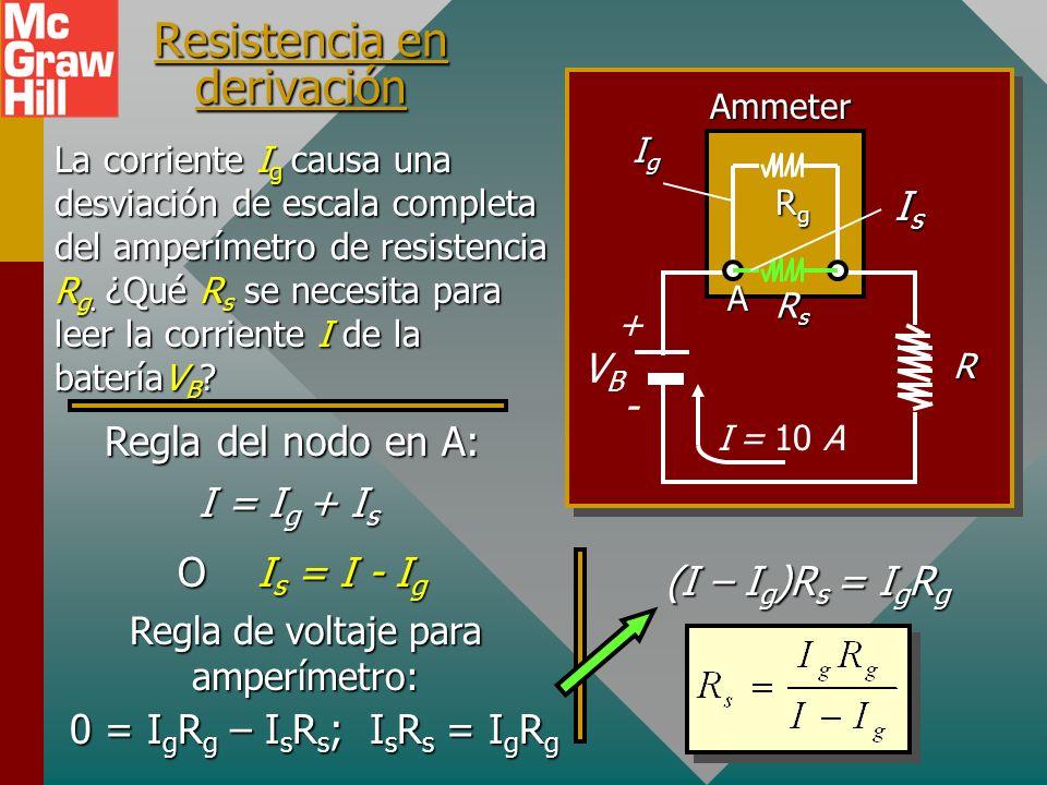 Operación de un amperímetro Con frecuencia el galvanómetro es el elemento operativo de amperímetros y voltímetros. Una resistencia en derivación en pa