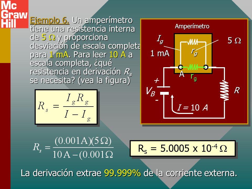 Regla del nodo en A: I = I g + I s Regla de voltaje para amperímetro: 0 = I g R g – I s R s ; I s R s = I g R g O I s = I - I g (I – I g )R s = I g R