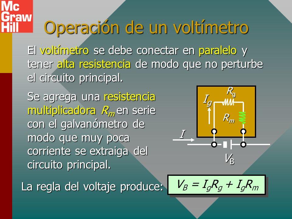Ejemplo 6. Un amperímetro tiene una resistencia interna de 5 y proporciona desviación de escala completa para 1 mA. Para leer 10 A a escala completa,