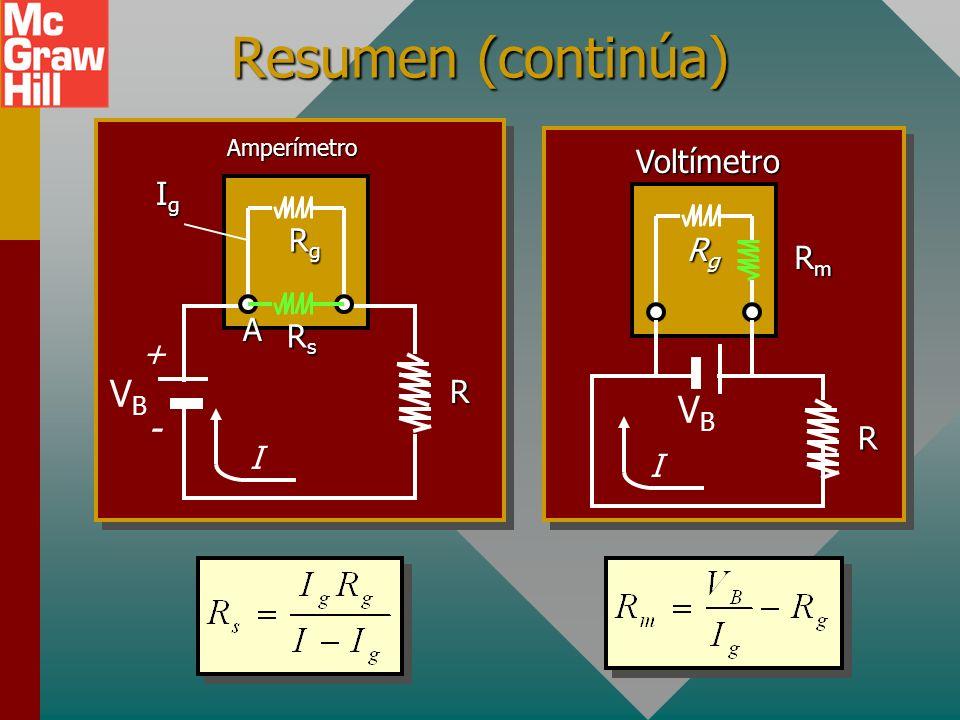 Resumen de fórmulas: Potencia: V T I = E I - I 2 r En carga: V T = E + Ir En descarga: V T = E - Ir r + - E I En carga r + - E I En descarga Potencia: