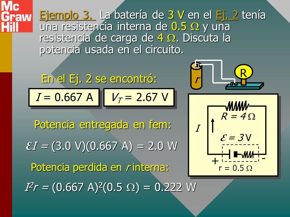 Potencia, potencial y FEM I + Batería r E - VTVT R Considere un circuito simple: V T = E - Ir Voltaje terminal Multiplique cada término por I: V T I =