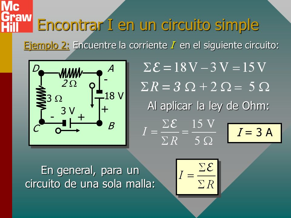 Un solo circuito completo Considere el siguiente circuito en serie simple: 2 3 V +- + - 15 V A C B D 4 Trayectoria ABCD: La energía y V aumentan a tra