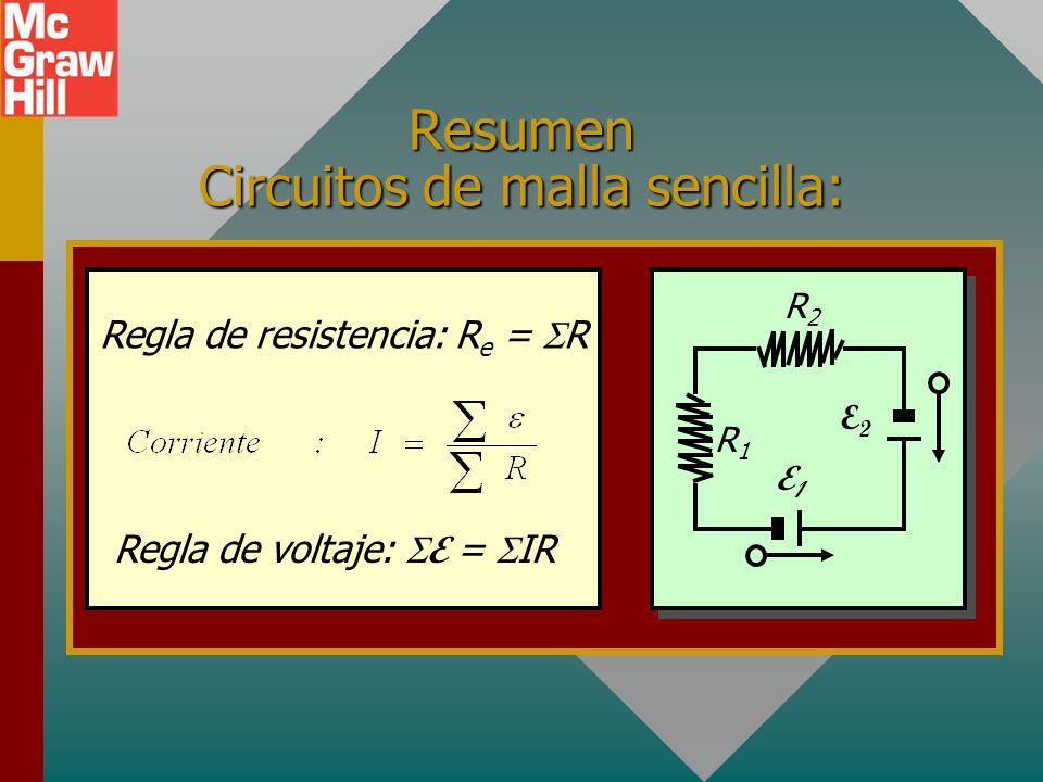 Encontrar I en un circuito simple 2 3 V3 V +- + - 18 V A C B D 3 Ejemplo 2: Encuentre la corriente I en el siguiente circuito: Al aplicar la ley de Oh