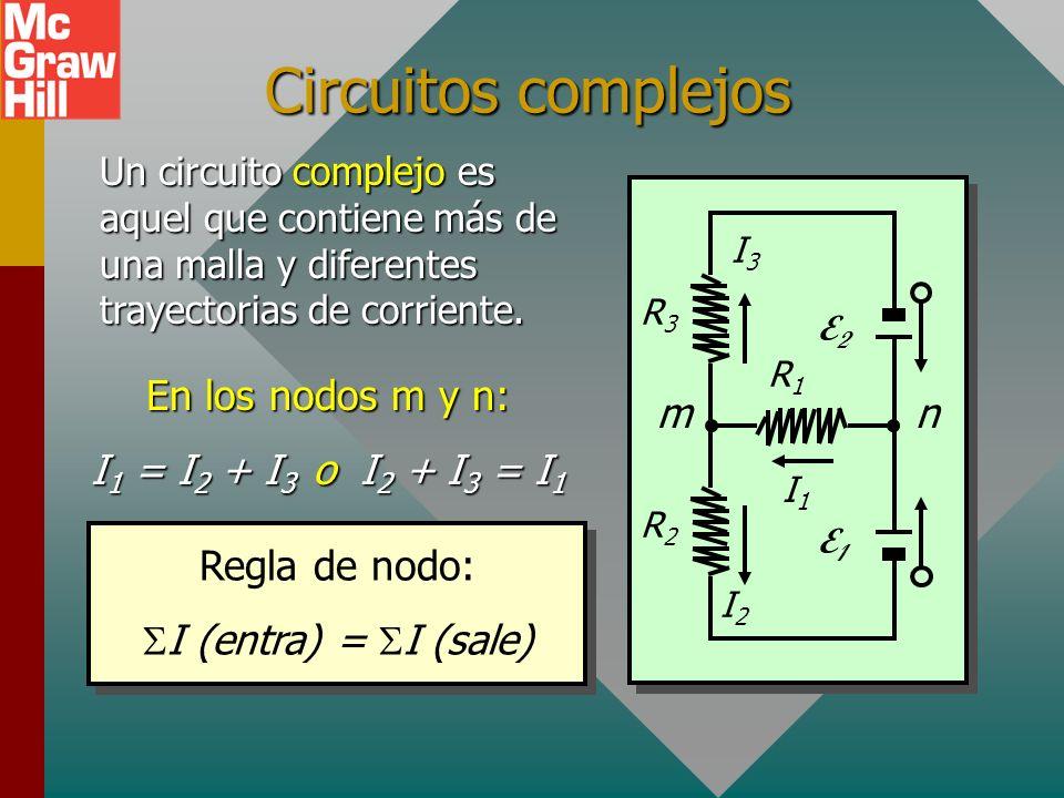 Resumen Circuitos de malla sencilla: Regla de resistencia: R e = R Regla de voltaje: E = IR R2R2 E1E1 E2E2 R1R1