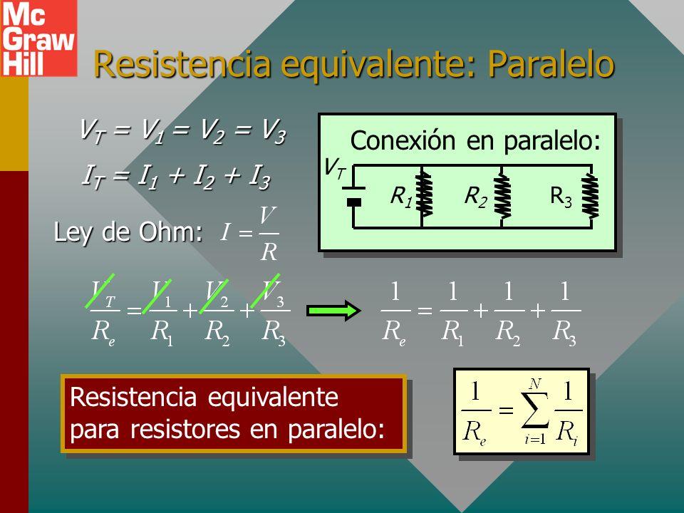 Conexiones en paralelo Se dice que los resistores están conectados en paralelo cuando hay más de una trayectoria para la corriente. 2 4 6 Conexión en