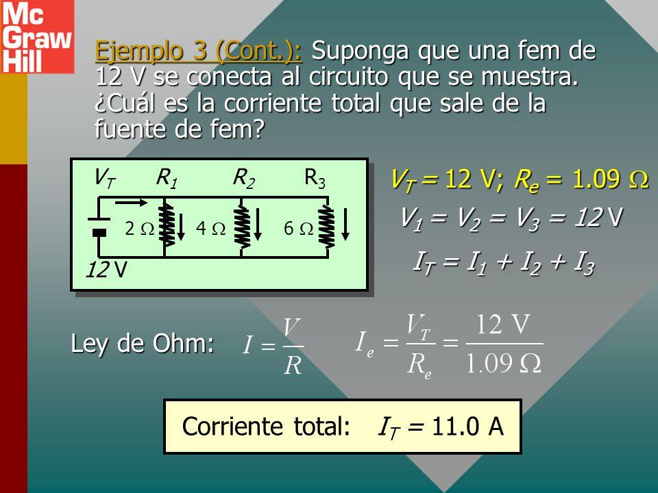 Ejemplo 3. Encuentre la resistencia equivalente R e para los tres resistores siguientes. R3R3 R2R2 VTVT R1R1 2 4 6 R e = 1.09 Para resistores en paral