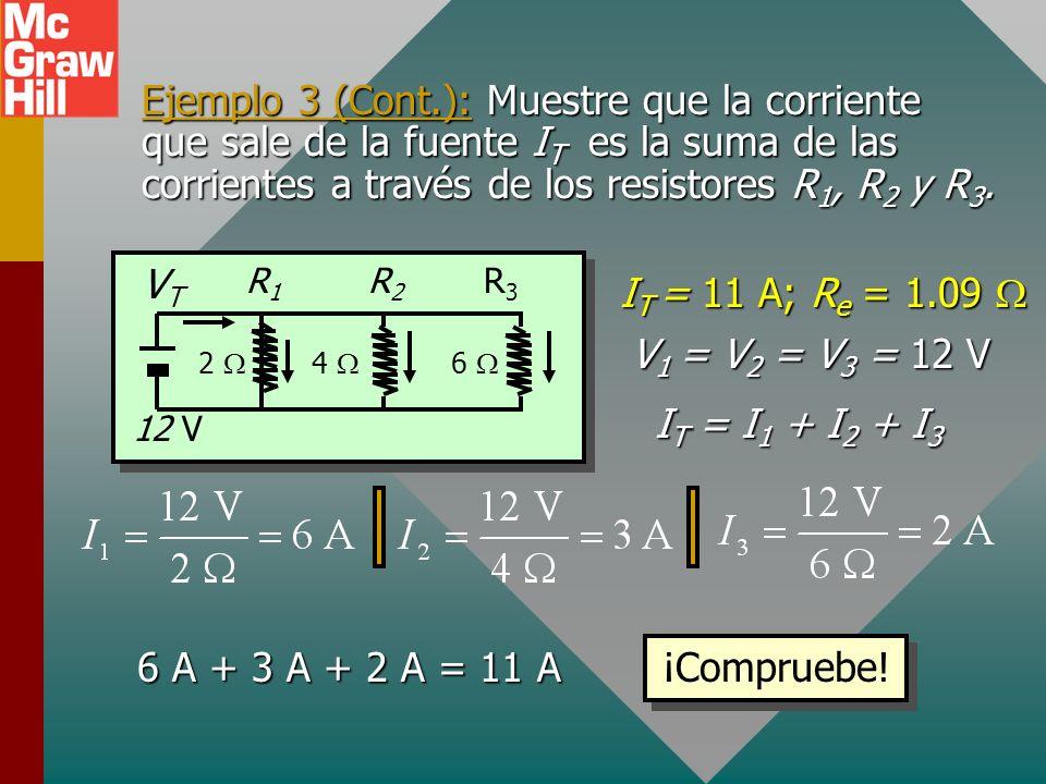 Ejemplo 3 (Cont.): Suponga que una fem de 12 V se conecta al circuito que se muestra. ¿Cuál es la corriente total que sale de la fuente de fem? R3R3 R