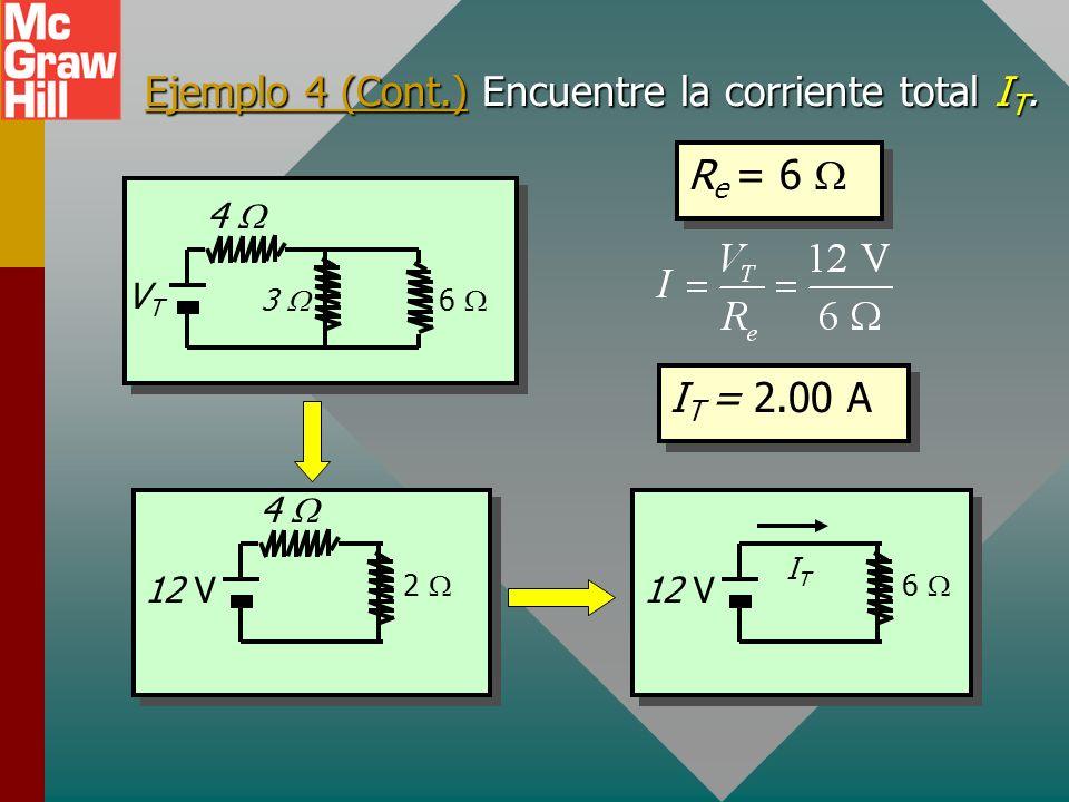 Ejemplo 4. Encuentre la resistencia equivalente para el circuito siguiente (suponga V T = 12 V). R e = 4 + 2 R e = 4 + 2 R e = 6 VTVT 3 6 4 12 V 2 4 6