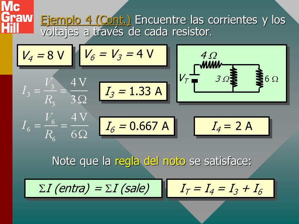 Ejemplo 4 (Cont.) Encuentre las corrientes y los voltajes a través de cada resistor Ejemplo 4 (Cont.) Encuentre las corrientes y los voltajes a través