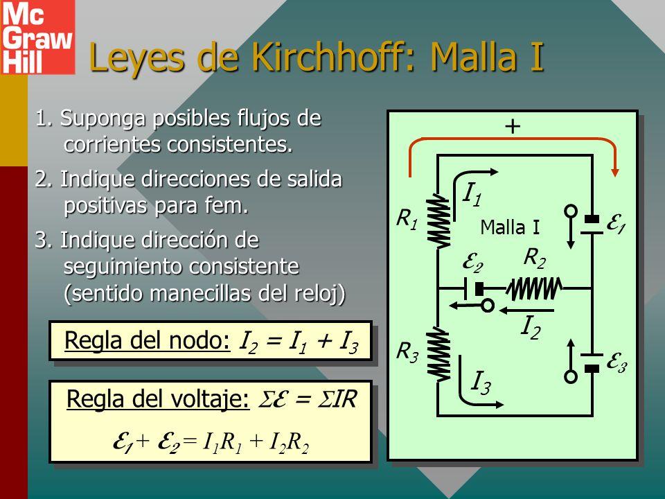 Signos de caídas IR en circuitos Cuando aplique la regla del voltaje, las caíadas IR son positivas si la dirección de corriente supuesta es en la dire