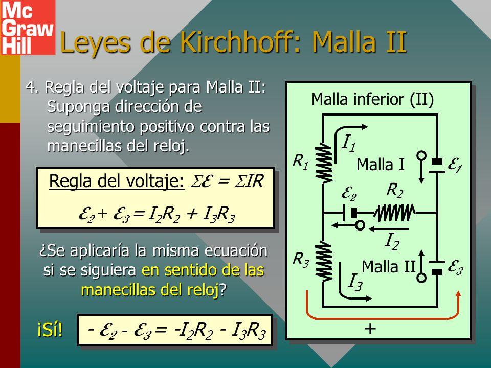 Leyes de Kirchhoff: Malla I R3R3 R1R1 R2R2 E2E2 E1E1 E3E3 1. Suponga posibles flujos de corrientes consistentes. 2. Indique direcciones de salida posi