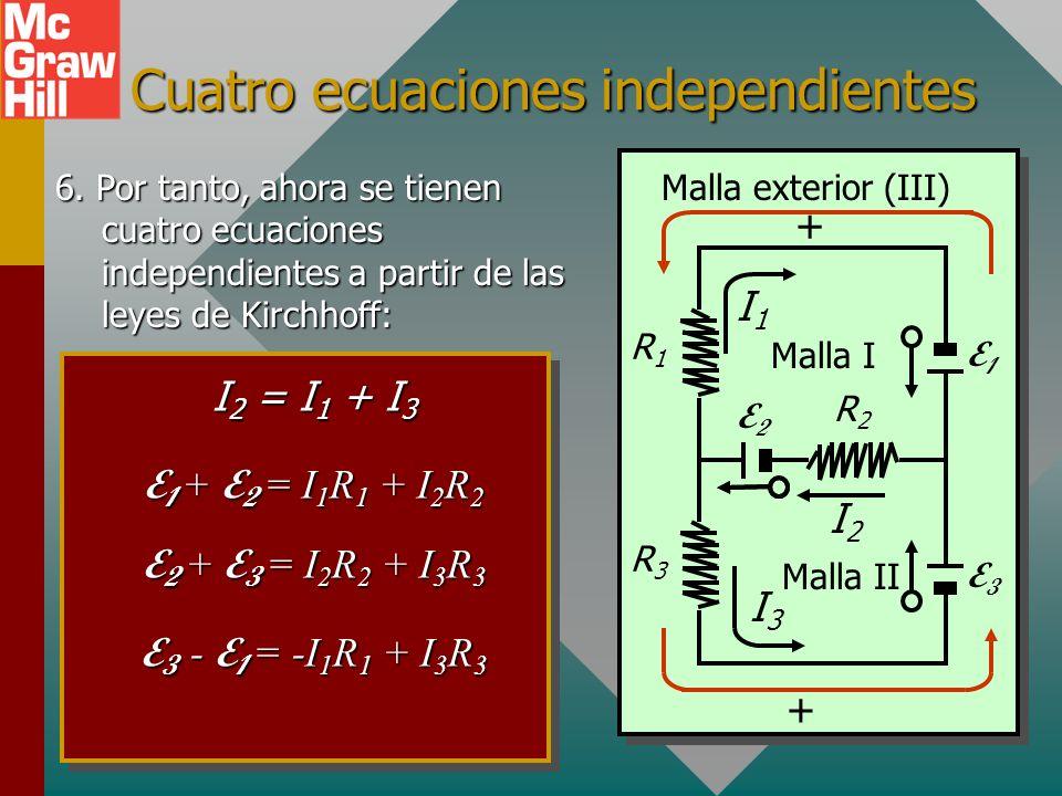 Leyes de Kirchhoff: Malla III 5. Regla del voltaje para Malla III: Suponga dirección de seguimiento contra las manecillas del reloj. Regla del voltaje
