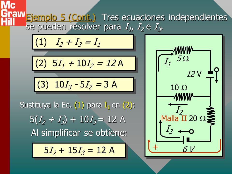 Ejemplo 5 (Cont.) Encuentre las corrientes. 6 V = (20 )I 3 - (10 )I 2 Regla del voltaje: E = IR Considere el seguimiento de la Malla II en sentido de