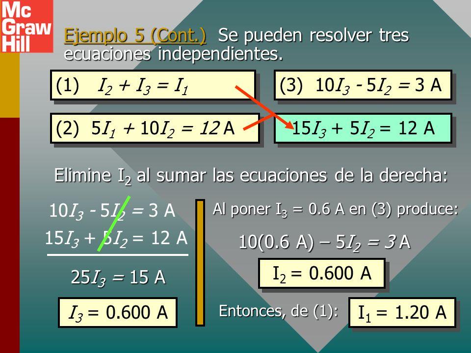 Ejemplo 5 (Cont.) Tres ecuaciones independientes se pueden resolver para I 1, I 2 e I 3. (3) 10I 3 - 5I 2 = 3 A 10 12 V 6 V 20 5 I1I1 I2I2 I3I3 + Mall